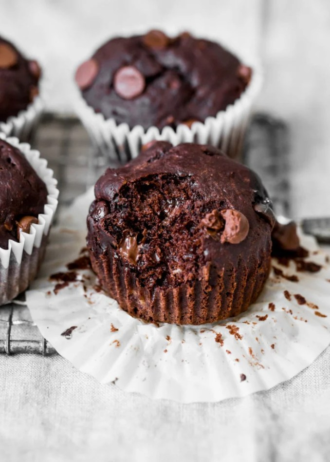 Skinny Double Chocolate Banana Muffins for Reagan