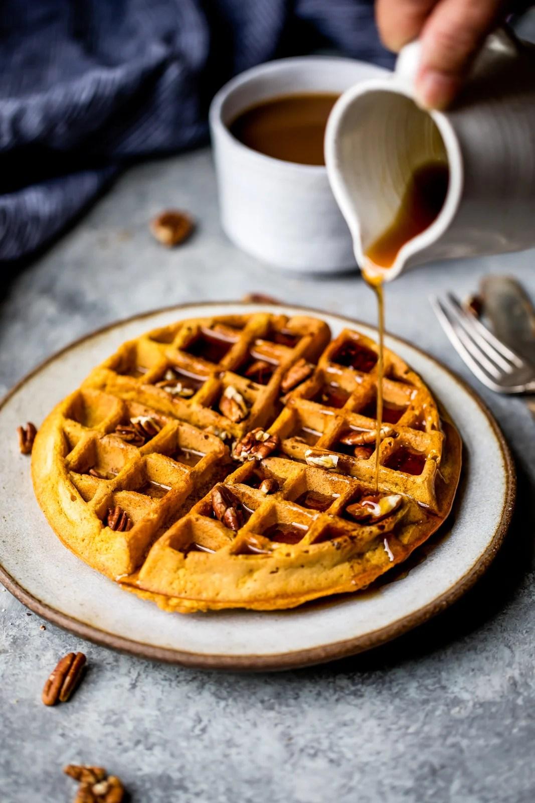 Fluffy Whole Wheat Healthy Pumpkin Waffles  a good