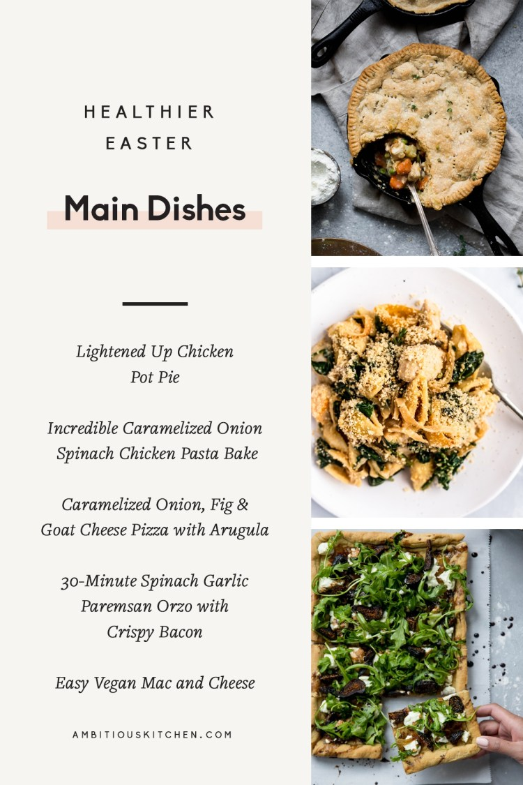 collage of easter main dishes