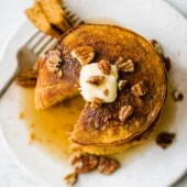 overhead shot of healthy pumpkin pancakes