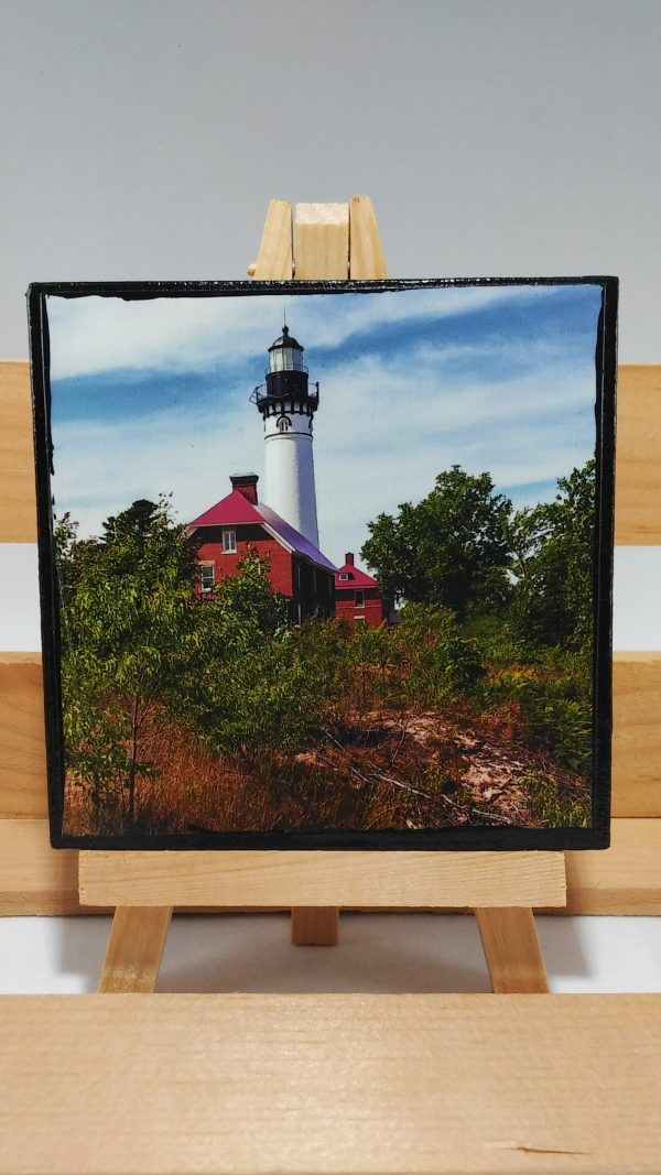4x4 Artisan Canvas Magnet of the Au Sable Lighthouse