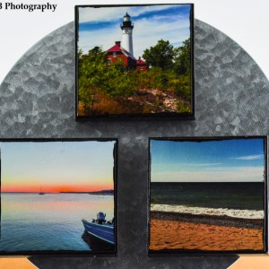 Three 4x4 inch artisan canvas magnets. The top is the Au Sable Lighthouse. Bottom row, left is Grand Marais Bay, and bottom row, right is Superior View, all captured in the late Summer of 2014. All canvases made in the Summer of 2018.