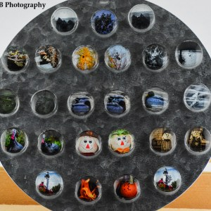 Cabochon Photo Bead Magnets - Circle A. Your choice from 25 shown here. Number 1 starts at the top left and continues numerically from left to right, top down ending at 25. Handmade in the Fall of 2018.