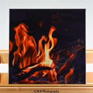 """A 12"""" x 12"""" artisan canvas of my image Fire. Image captured in the late Summer of 2017 and canvas created in the Fall of 2018."""