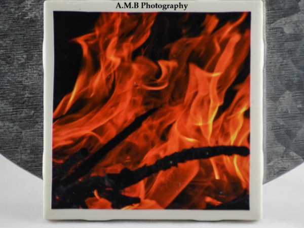 1 from the set of 4 Fire Coasters featuring my series of Fire images. They were captured on Labor Day, 2017. Coasters designed and made in the Fall of 2018.