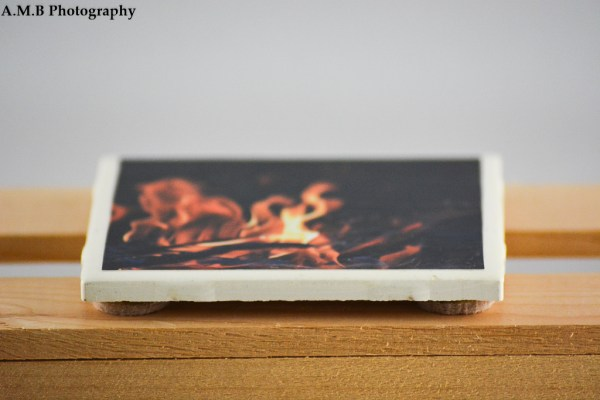 The side view of a white tile coaster featuring one of my Fire images. Captured on Labor Day, 2017 and the coaster was recently designed and made in the Fall of 2018.