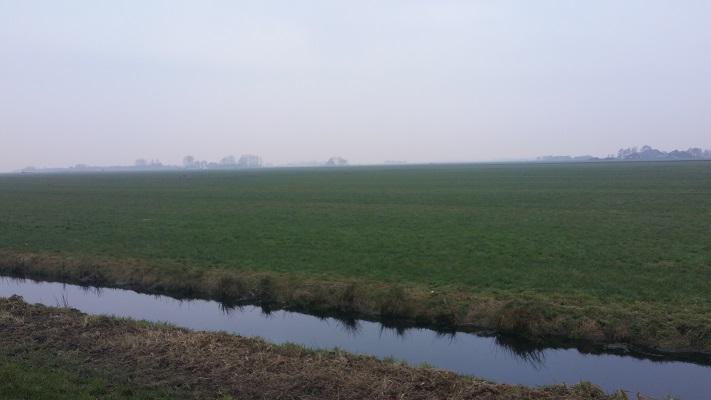 Wandelen over het Groot Frieslandpad door weilanden in Warnahuizen