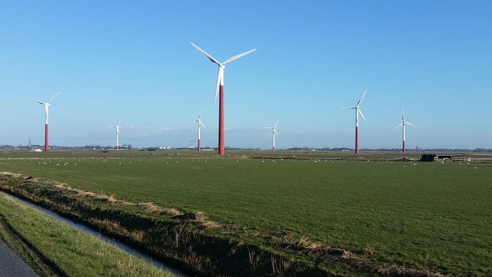 Windmolenpark Oosterbierum op een wandeling over het Nederlands Kustpad van Franeker naar Sint Jacobiparochie