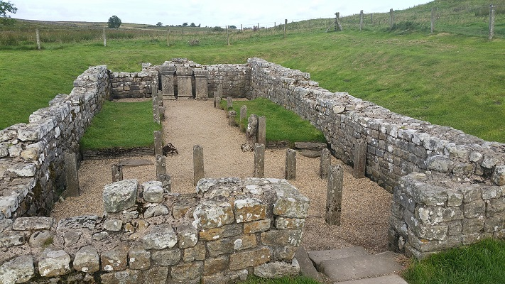 Romeins fort op een wandeling van Chollerford naar Once Brewed op wandelreis over Muur van Hadrianus in Engeland