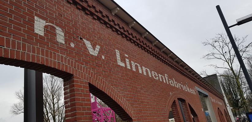 Wandelen over Rielsepad van Eindhoven naar Geldrop bij Linnenfabriek