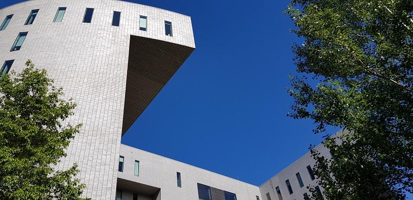 Wandelen buiten de binnenstad van Eindhoven over het Tongelrepad bij de TU-Campus