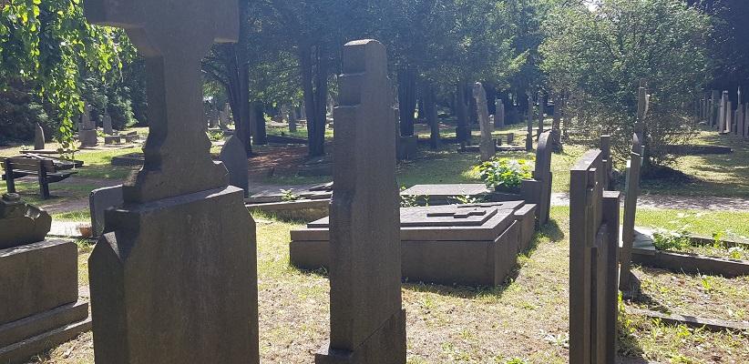 Wandelen buiten de binnenstad van Nijmegen over het Berg en Dalpad op begraafplaats aan de Daalseweg in Nijmegen