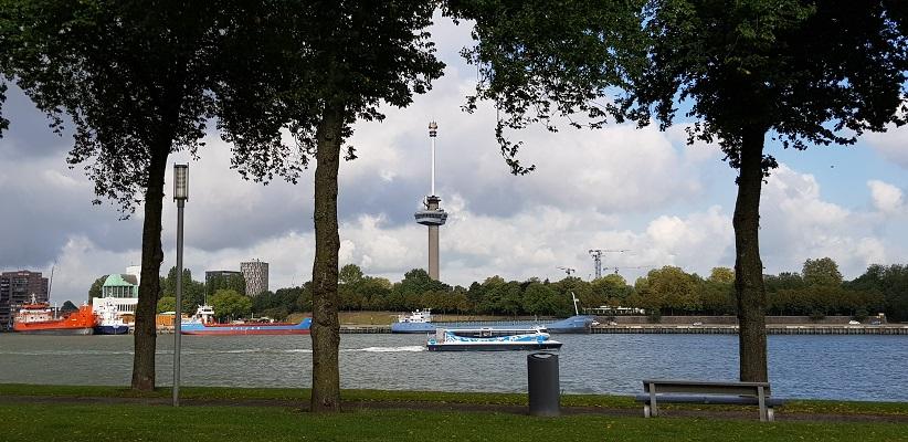 Wandeling buiten de binnenstad van Rotterdam over het Katendrechtpad met zicht op de Euromast