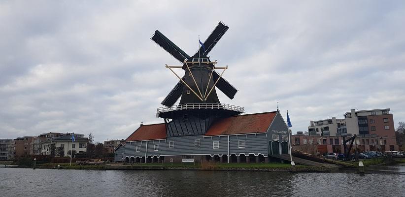 Wandeling over het Romeinse Limespad van Leiden naar Voorburg bij molen de Salamander in Leidschendam