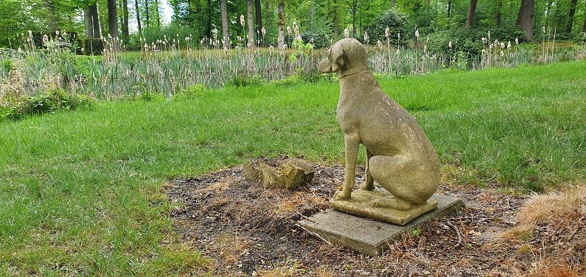 Wandeling over Trage Tocht Sandenburg bij beeld van hond bij kasteel Sandenburg