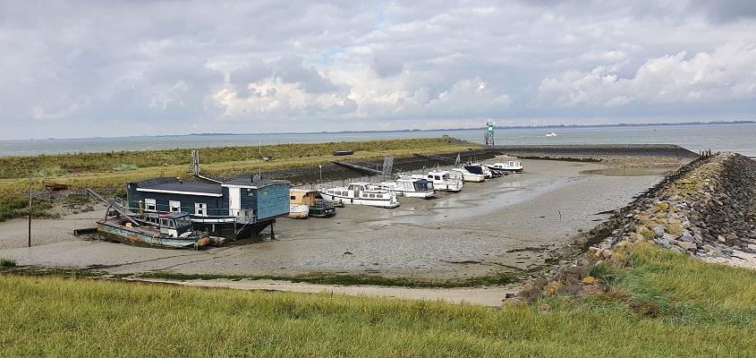 Wandeling over het Grenslandpad van Kloosterzande naar Terneuzen bij een vluchthaventje aan de Westerschelde
