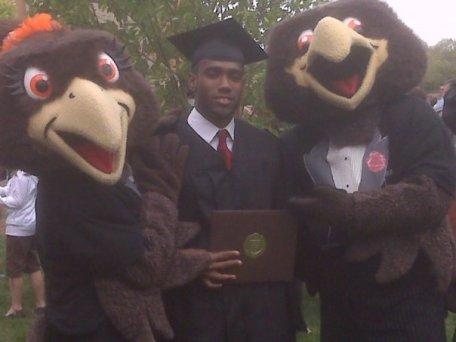 Ambus posing with BGSU mascots.