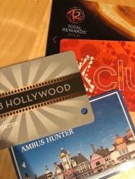 Rewards cards from various casinos.