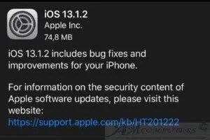 Apple iOS 13.1.2 nuovo Update per i dispositivi