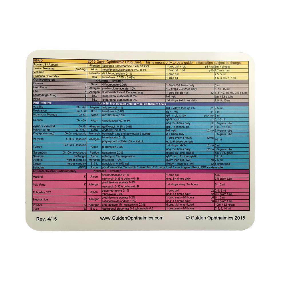 Dovie Drug Pocket Card Dispensing Pharmaceuticals