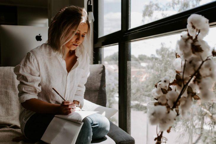 Female entrepreneur working from home office