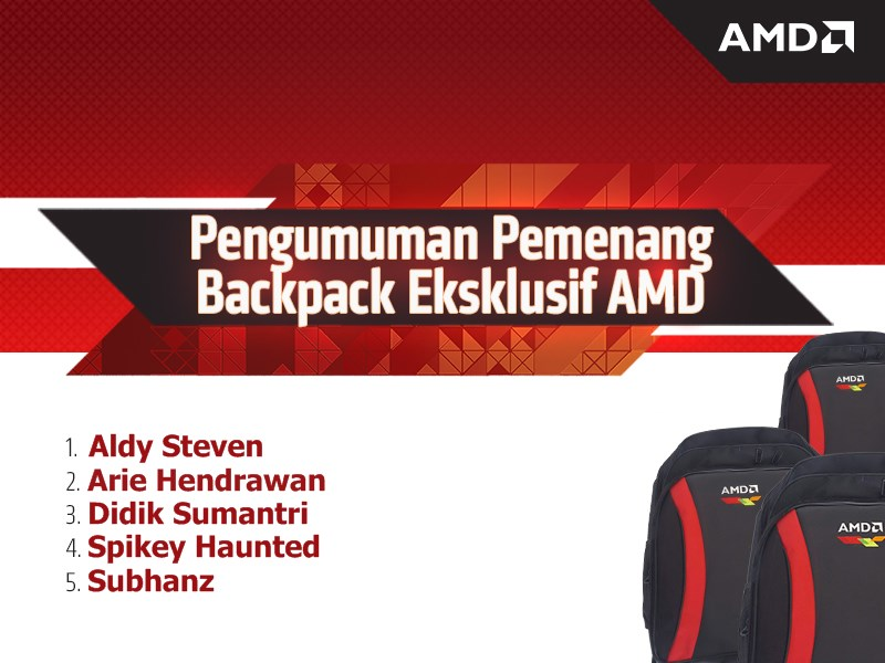 Pengumuman Pemenang Backpack Eksklusif AMD