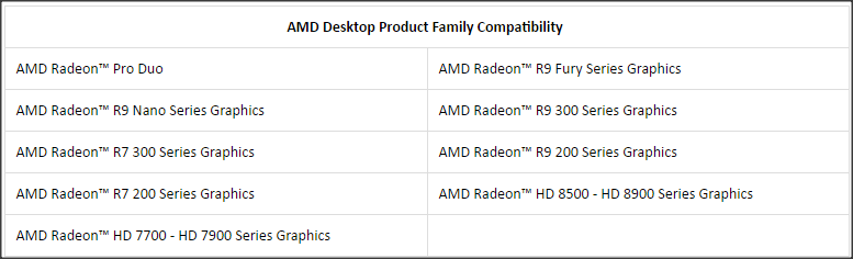 AMD Desktop Product Family Compatibility