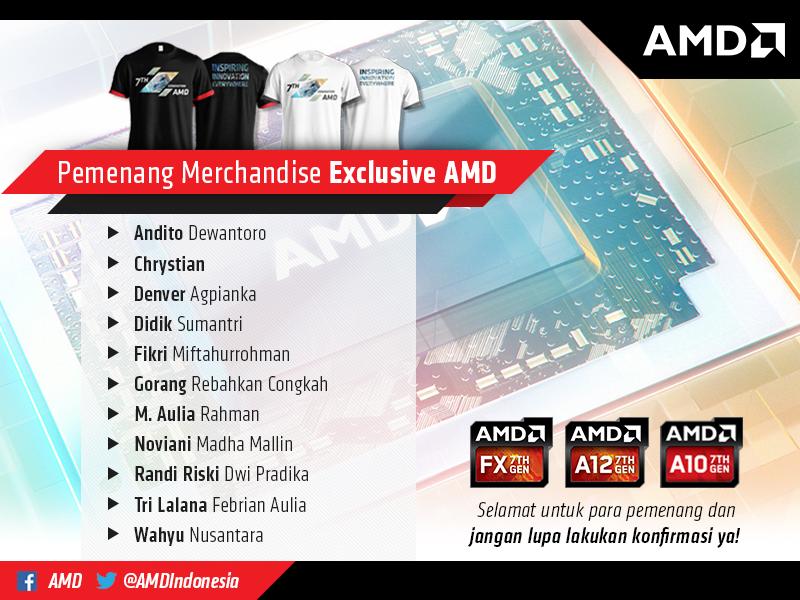 11 Pemenang Merchandise Exclusive #IWant7thGenAPU AMD