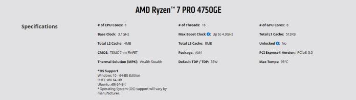 AMD Ryzen PRO 7 4750GE