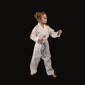 Dobok Taekwondo uniforme Little Warrior AME sport personne en garde