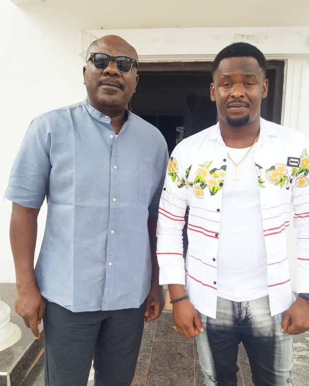 Zubby Michael Poses With Sam Dede On Set (2)