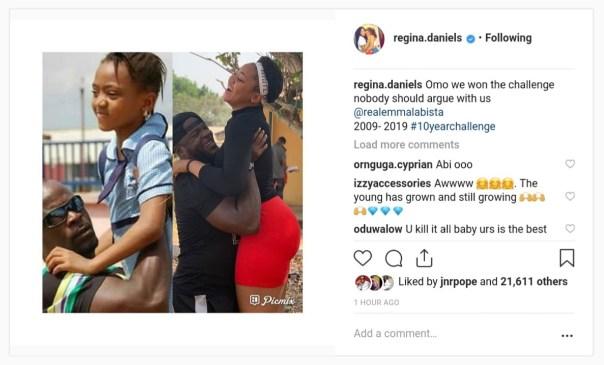 Regina Daniels' 2009-2019#10yearchallenge With Emmanuel Ehumadu Totolos (2)