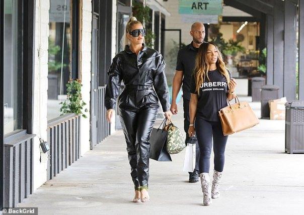 Khloe Kardashian Black Leather Jumpsuit (3)