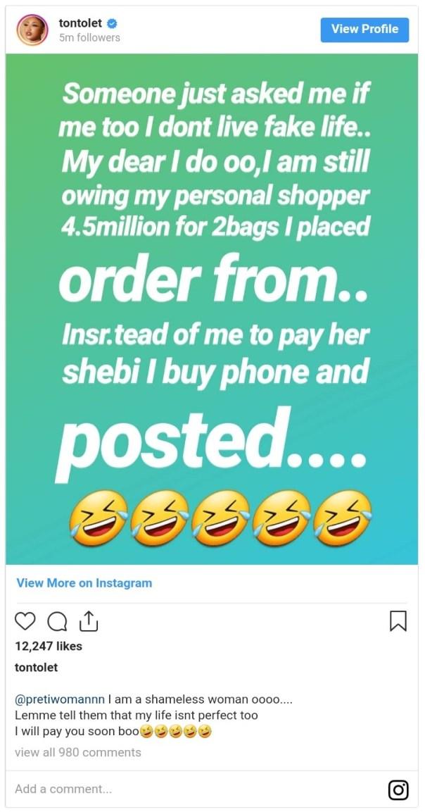 Tonto Dikeh Admits To Living Fake Life On Social Media (2)