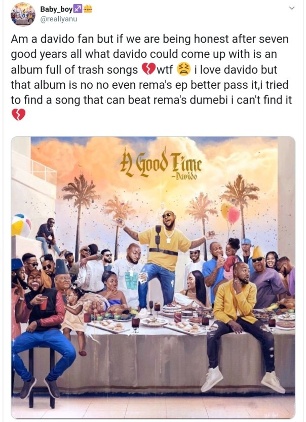 Davido's Fan Disappointed With Album Full Of Trash Songs (2)