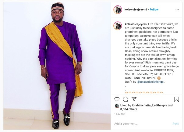Kolawole Ajeyemi Begs God To Intervene Over Coronavirus