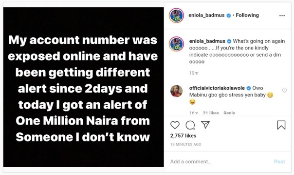 Eniola Badmus Alert Of N1million From Someone She Doesn't Know (2)