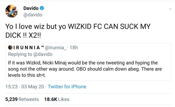 Davido Blasts Wizkid Fans Over Nicki Minaj Collaboration (2)