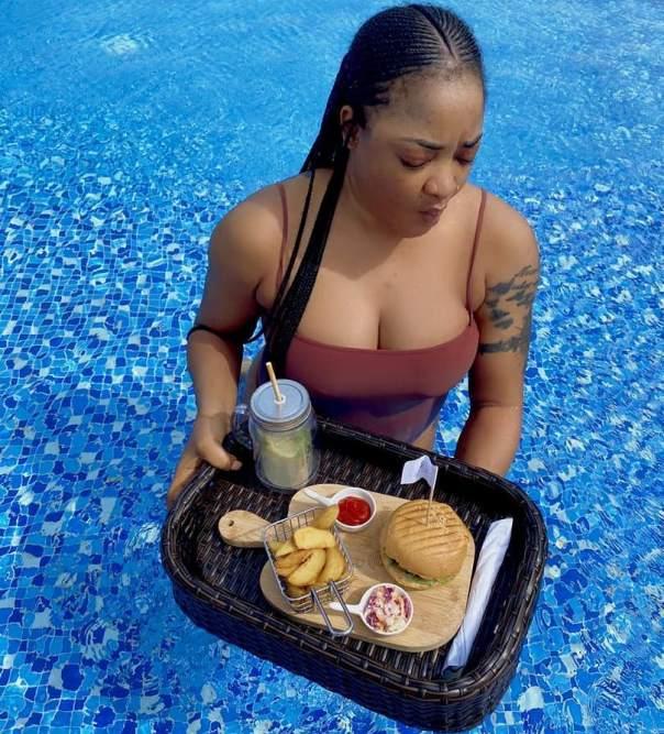 Tayo Sobola Swimsuit Pool Before Spa Session Owambe (2)