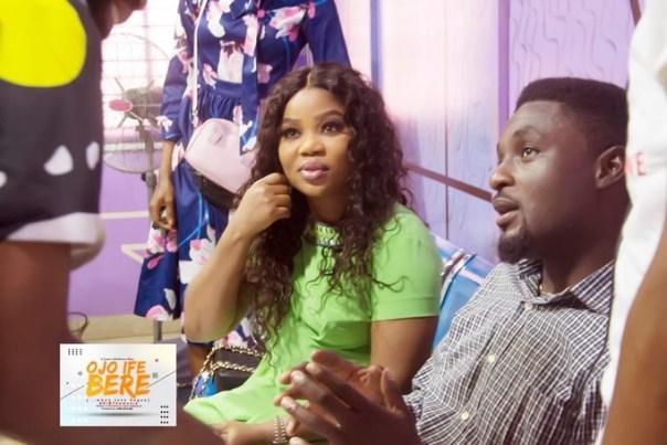 Adeniyi Johnson And Wife Seyi Edun Meet On Set OJO IFE BERE (4)