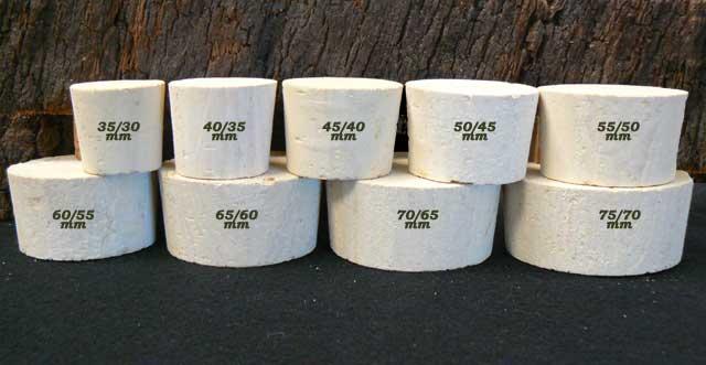 bouchons de liege coniques bondes liege sanpor hauteur 33 mm col o 31 a 73 mm