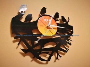Orologio Vinile Clock Uccelli su Ramo