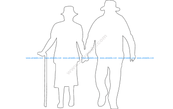 Old Man and Woman Walking