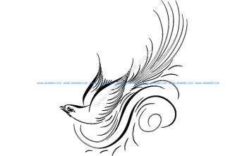 Calligraphy Bird Vector