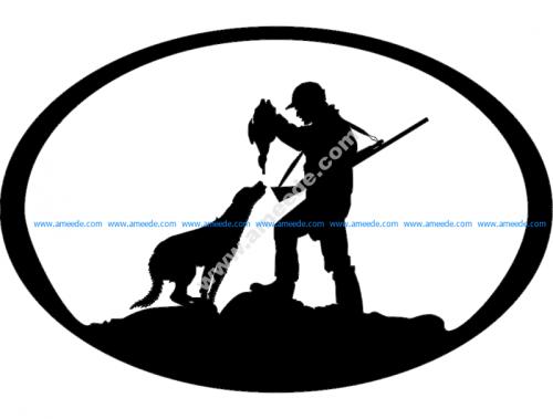 Duck Hunter n Dog Oval Svg