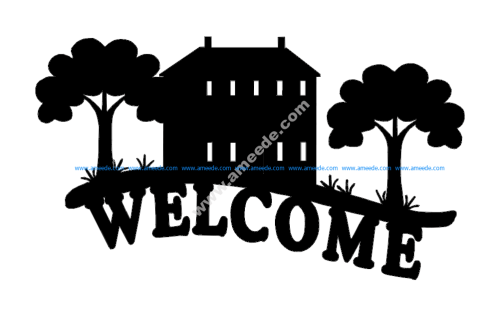 Welcome sign cabin