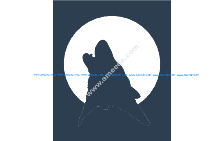 Wolf Moon Silhouette 10×12