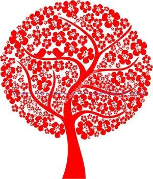 Abstract Love Tree Vector