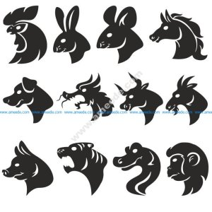 Animals Head Silhouettes