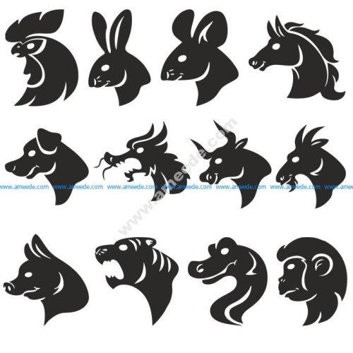 Animals Head Silhouettes